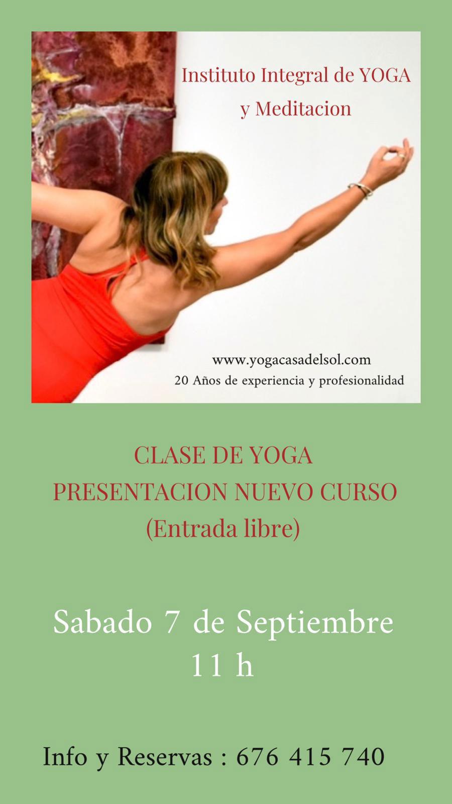 Yoga Casa del Sol, presentacion nuevo curso